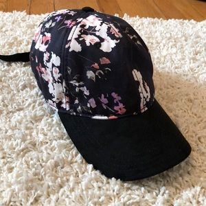 Lucky Brand Floral and Suede Baseball Hat